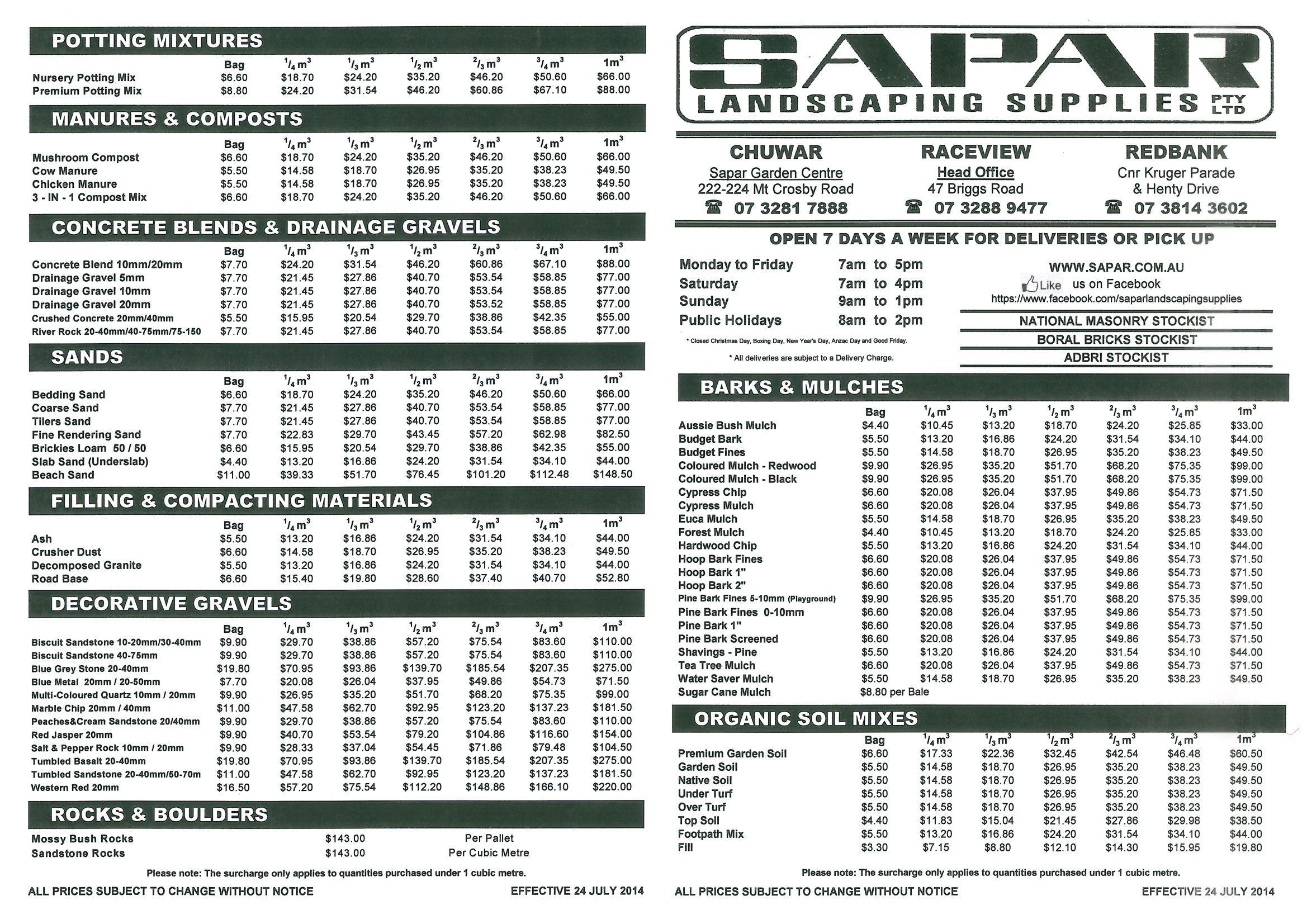 Sapar Landscaping Supplies Current Price List Landscaping Supplies Landscape Potting Mixture