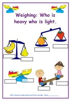 Heavy & light | Heavy and light, Teaching materials ...
