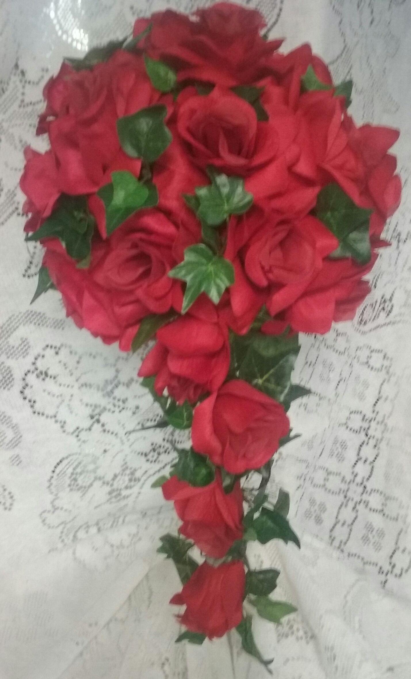 Red Open Rose Silk Cascade Wedding Bouquet On Sale For 3000