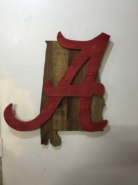 Alabama Crimson Tide Rustic Wall Art Alabama Decor Alabama Room