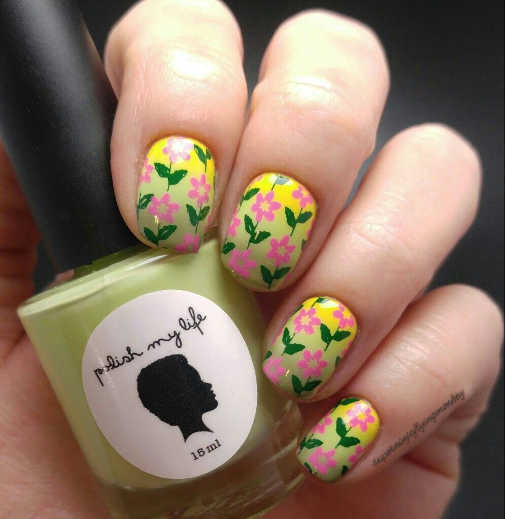 Spring Flower Nail Stamping Gradient My Sunday Psychosis