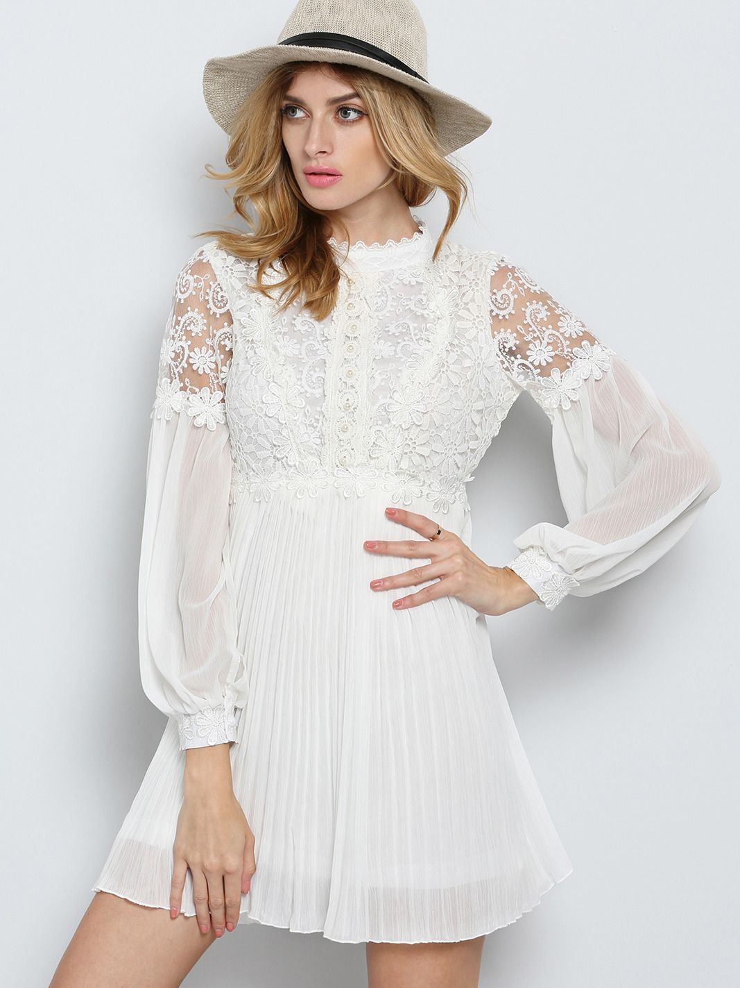 White long sleeve embroidered bead lace dress sleeved dress lace