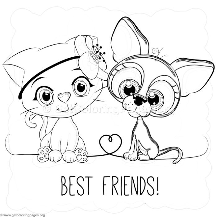 Free Instant Downloads Best Friends Cat And Dog Coloring Pages Coloring Coloringbook Precious Moments Coloring Pages Valentine Coloring Pages Coloring Pages