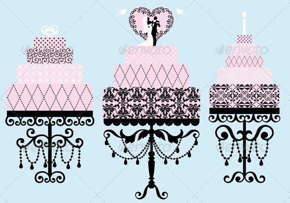 Wedding And Birthday Cakes, Vector  #GraphicRiver         Set of patterned wedding and birthday cakes, vector AI EPS 8 and high resolution JPG 5000 x 3500 pixel included.     Created: 12September12 GraphicsFilesIncluded: JPGImage #VectorEPS Layered: Yes MinimumAdobeCSVersion: CS Tags: bird #birthday #black #blue #cake #candle #celebration #clipart #couple #dessert #drawing #eps #floral #food #heart #illustration #marriage #object #ornament #pattern #pigeon #pink #set #swirl #vector #wedding