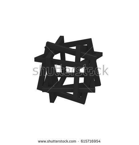 3D orderly tangles based rectangle. Object material is black. Background color is white.
