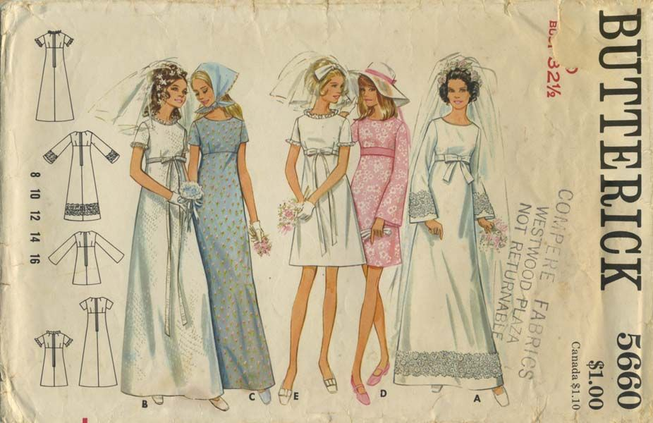 Vintage Wedding Dress Sewing Pattern Butterick 5660