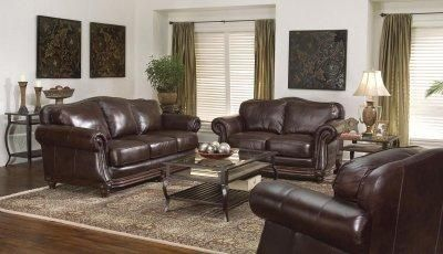 Brown leather living room furniture - Leather Living Room Furniture