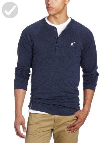 d7753050 LRG Men's Core Collection Long Sleeve Raglan Henley Shirt, Navy Blue ...