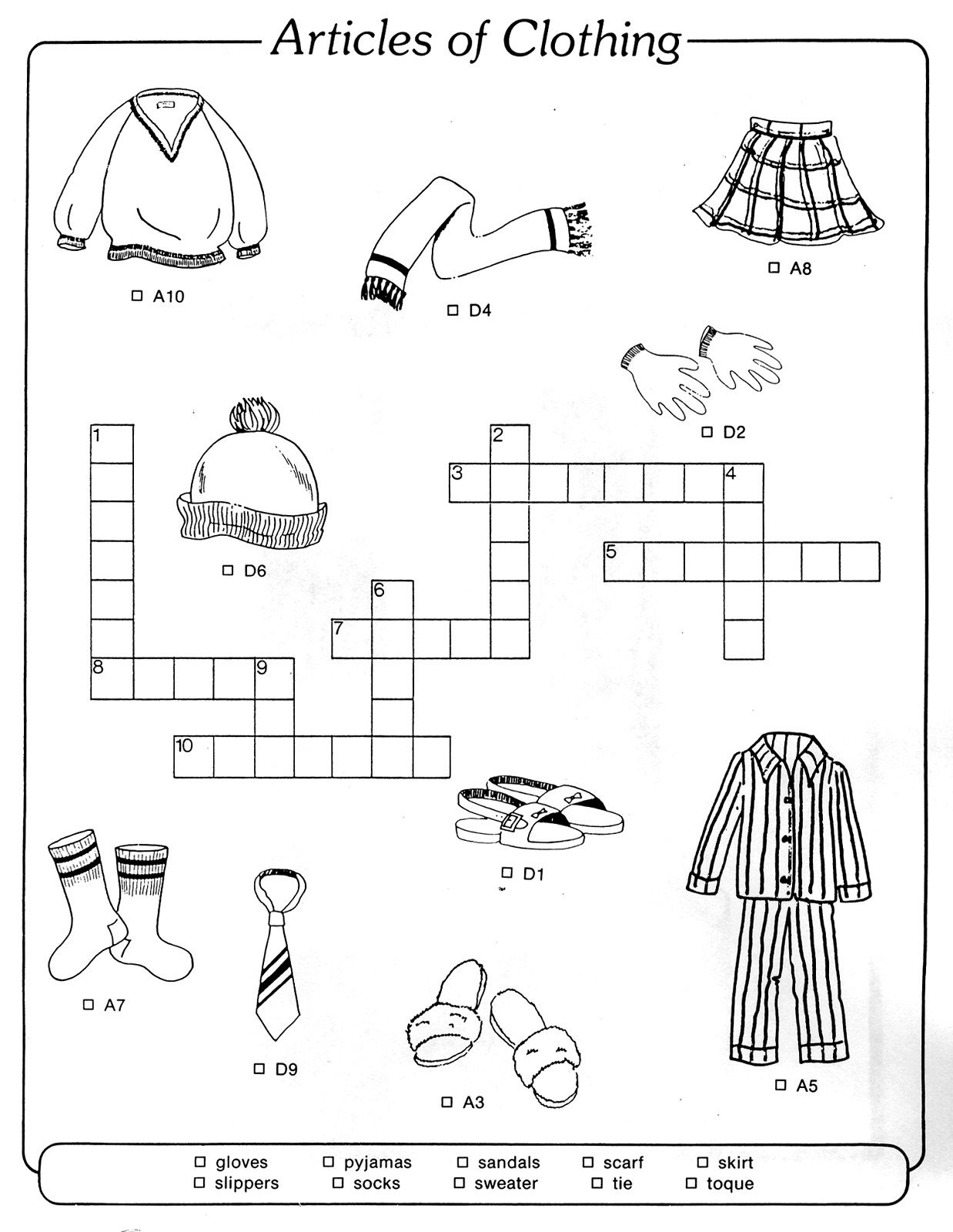 Crossword To Practice Clothes