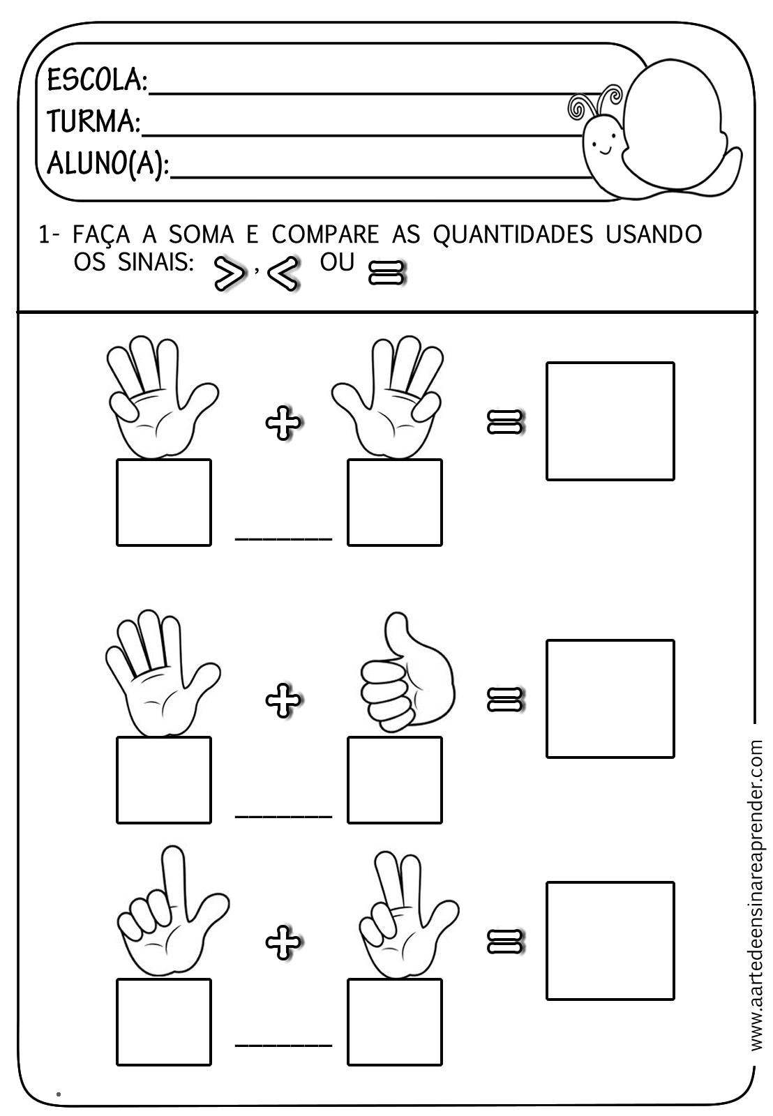 Atividade pronta - Soma e comparação de quantidades | Maths ...