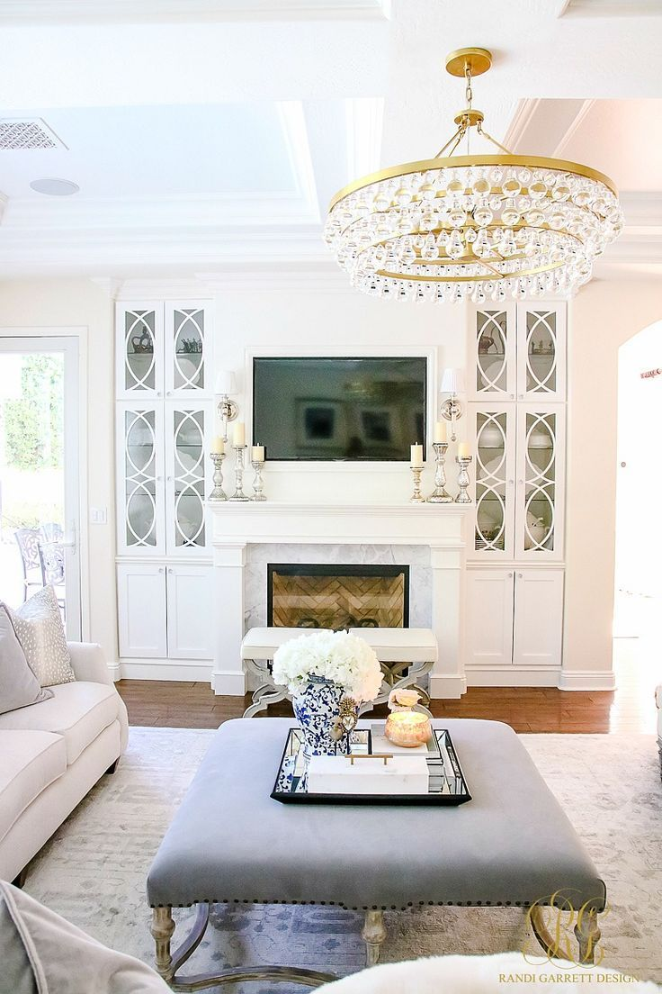 Transitional Family Room Reveal | Built ins, Ottomans and Neutral