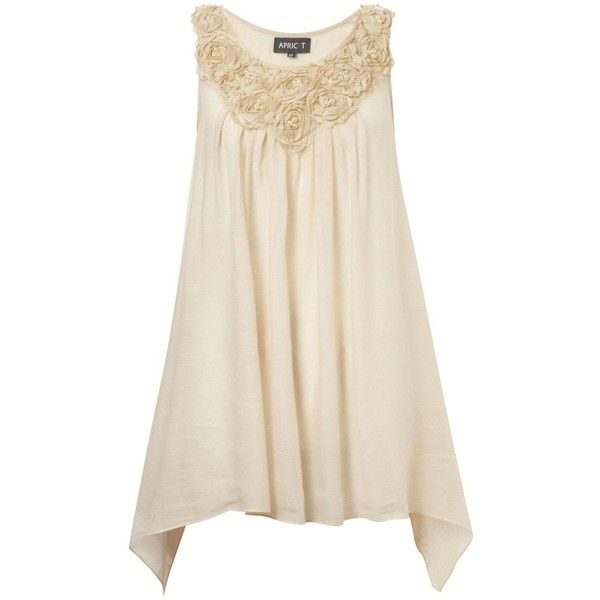 Stone Pearl Flower Applique Tunic ($37) ❤ liked on Polyvore
