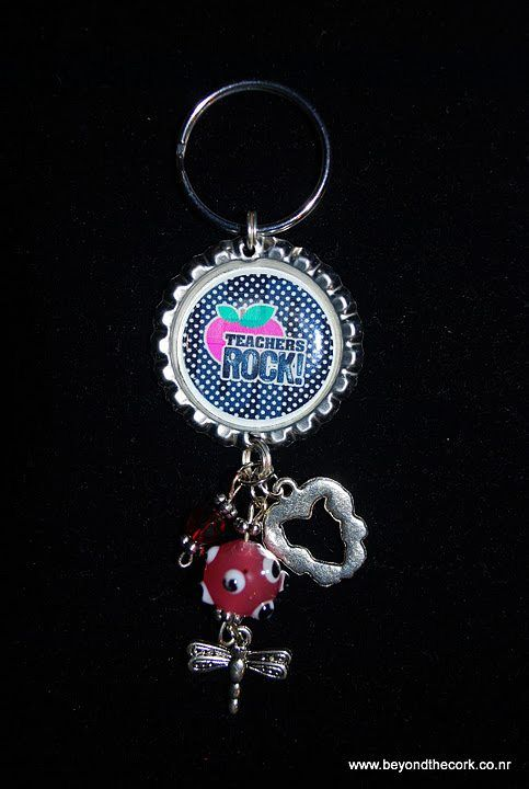 Teachers Rock KeychainPurse Charm 15 Bottlecap Keychains Purse