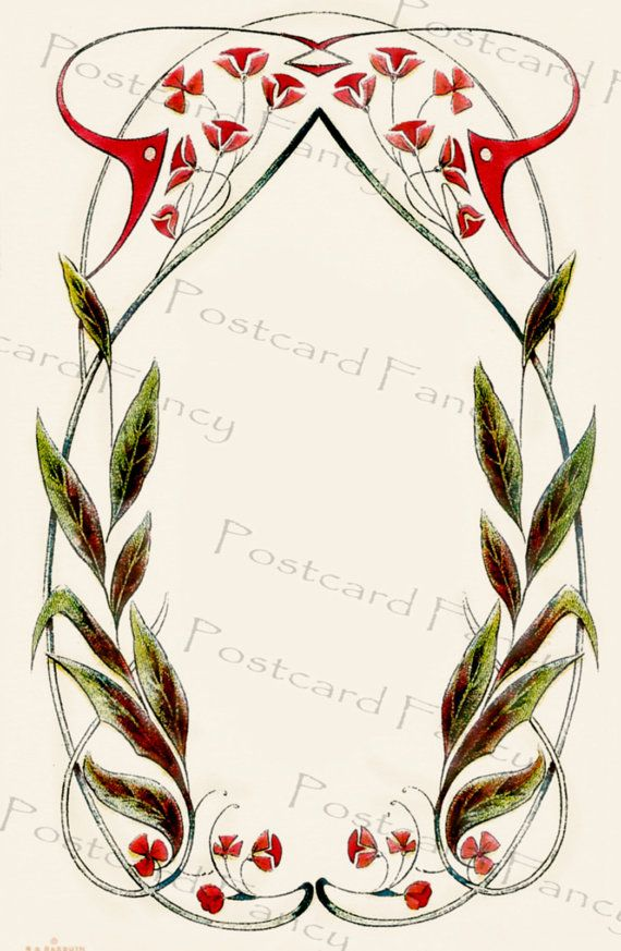 VINTAGE Flower Border ART Deco Illustration By Postcardfancy