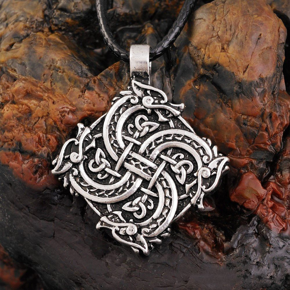 Norse Viking Wolf Head Pendant Necklace