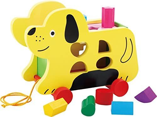 TOWO Wooden Pull Along Dog with Shape Sorter - Wooden Pull Along Puppy Toys for 1 Year Old - Wooden Pull Along Toys for Toddlers-Educational Toys for Baby-Early Learning Toys
