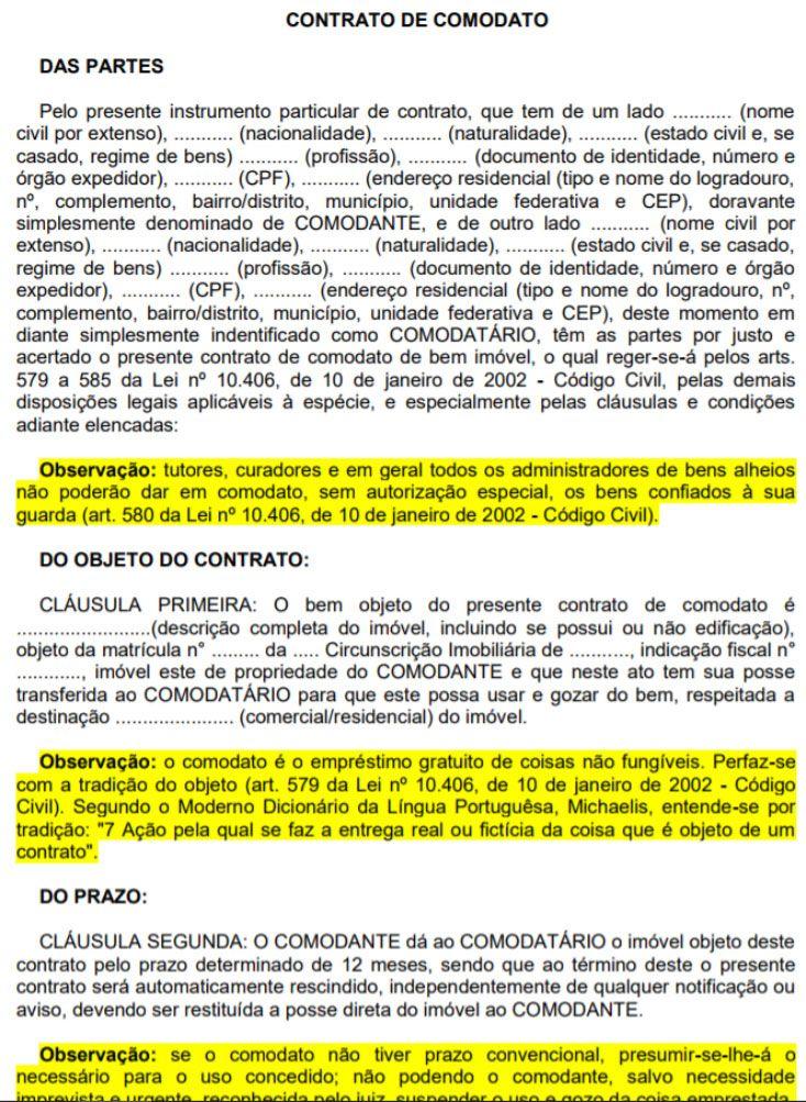 Modelo de Contrato de Comodato – Grátis para Baixar! | Modelos ...