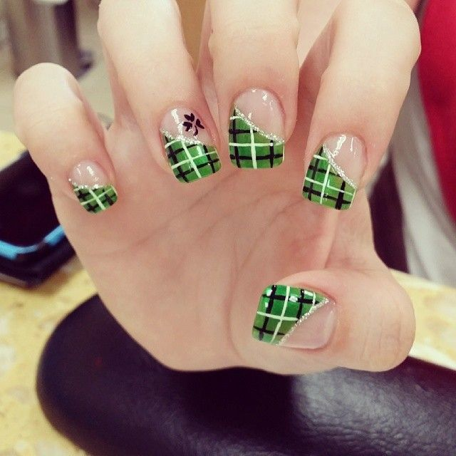 What do you get when you play around with French tips? You get this amazing  plaid French tip nail art design. The design uses green, white and black  polish ... - Ssssss Decorative Finger Nails Pinterest Decorating