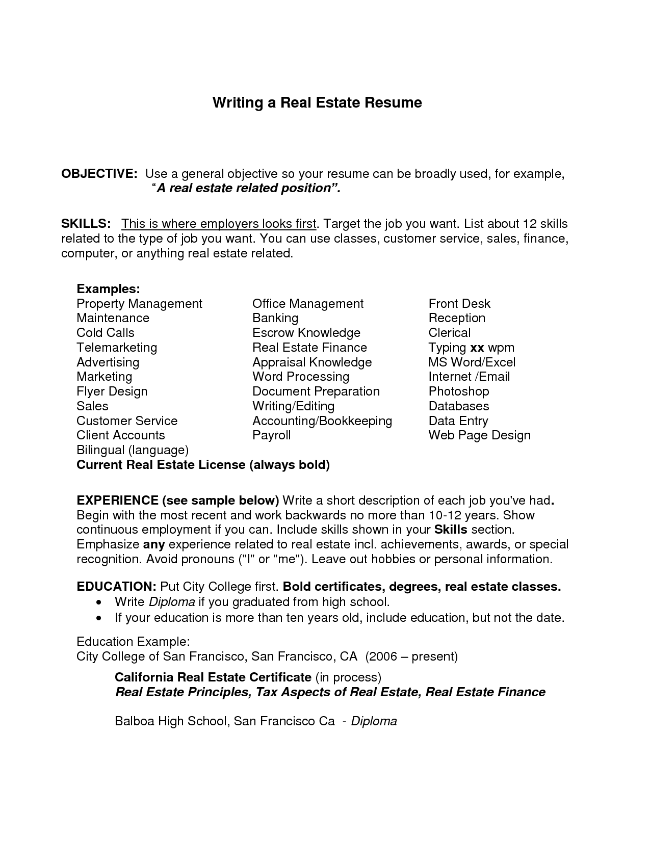 general resume objective examples for first job