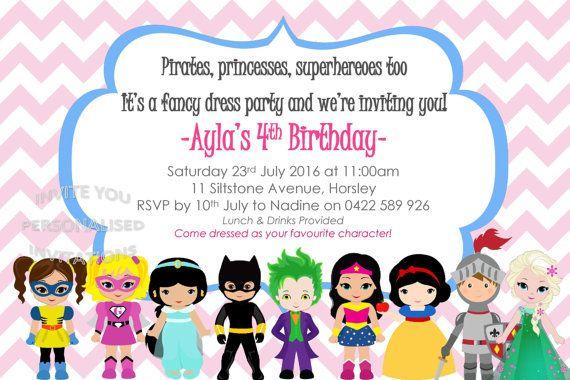 girls boys superhero costume birthday invite invitation party fancy