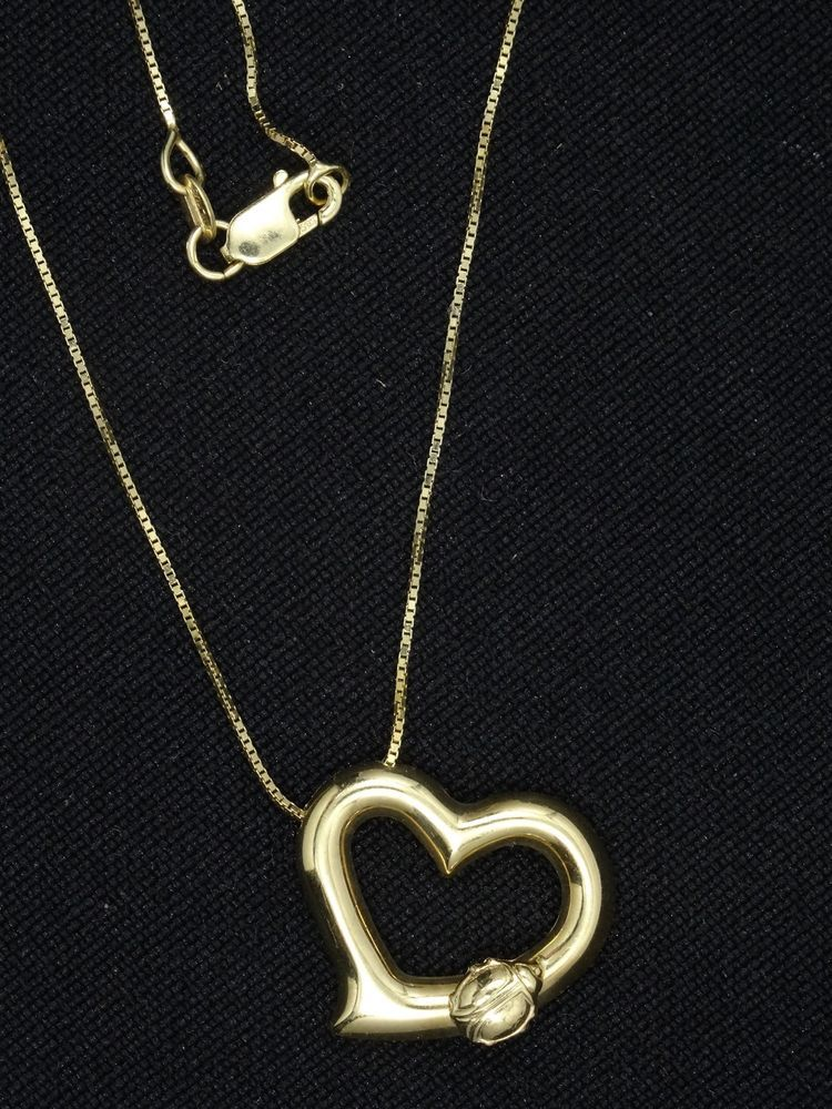 Solid Italian Heart Pendant Set in 14K Gold Plated