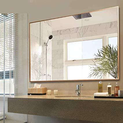 Amazon Com Modern Rectangular Bathroom Mirror Wall Mirror Gold Frame Vanity Mirror Contemporary Bathroom Mirrors Rectangular Bathroom Mirror Bathroom Mirror
