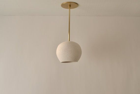 Claylight Pendant With Brass Rod Ceiling Fixture Ceramic Etsy Starry Night Light Ceiling Fixtures Dimmable Led Lights