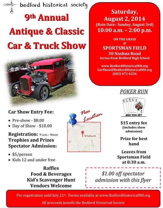 Th Annual Antique Classic Car Truck Show August Nd At - Nh car show bedford