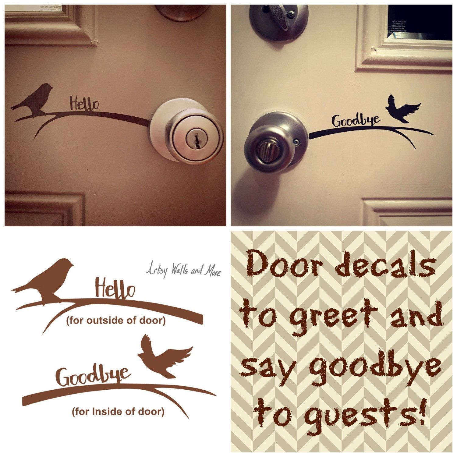 Hello goodbye bird front door vinyl decal sticker welcome front artsywallsandmore shared a new photo on etsy m4hsunfo