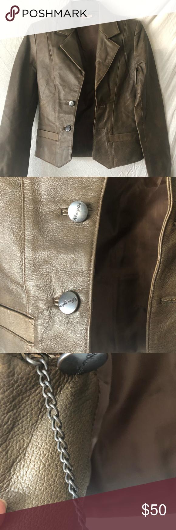 Vintage 100 Genuine Leather Jacket By Wrangler Genuine Leather Jackets Genuine Leather Leather [ 1740 x 580 Pixel ]