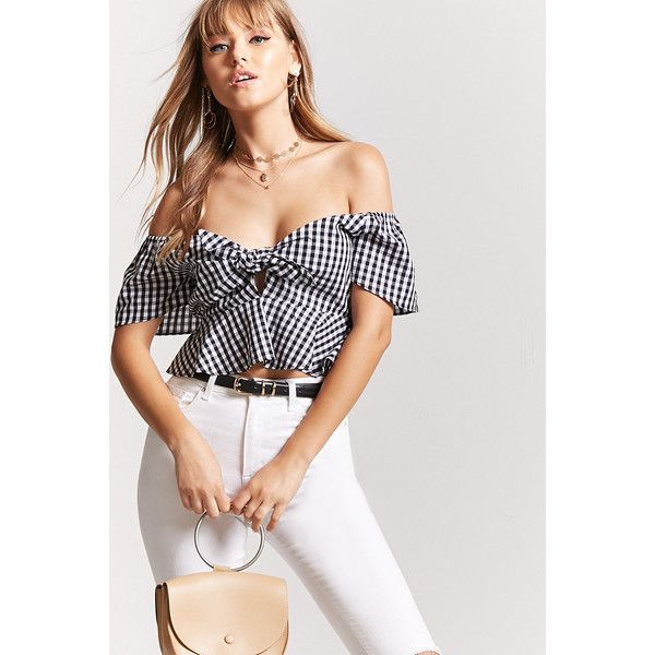 ba7d28eeffd099 Forever21 Gingham Peplum Crop Top ( 18) ❤ liked on Polyvore featuring tops