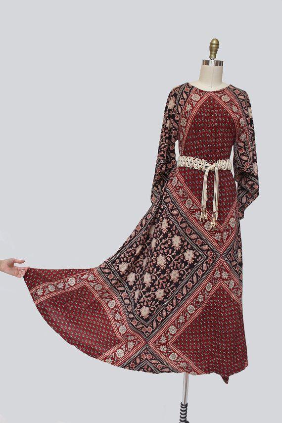 1970s Adini India Cotton Dress S-M-L 70s by SadieLouVintage