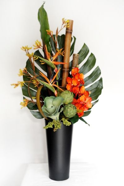 Artificial Flower Arrangements Tropical Orchids How To Arrange Flowers In A Tall Vase