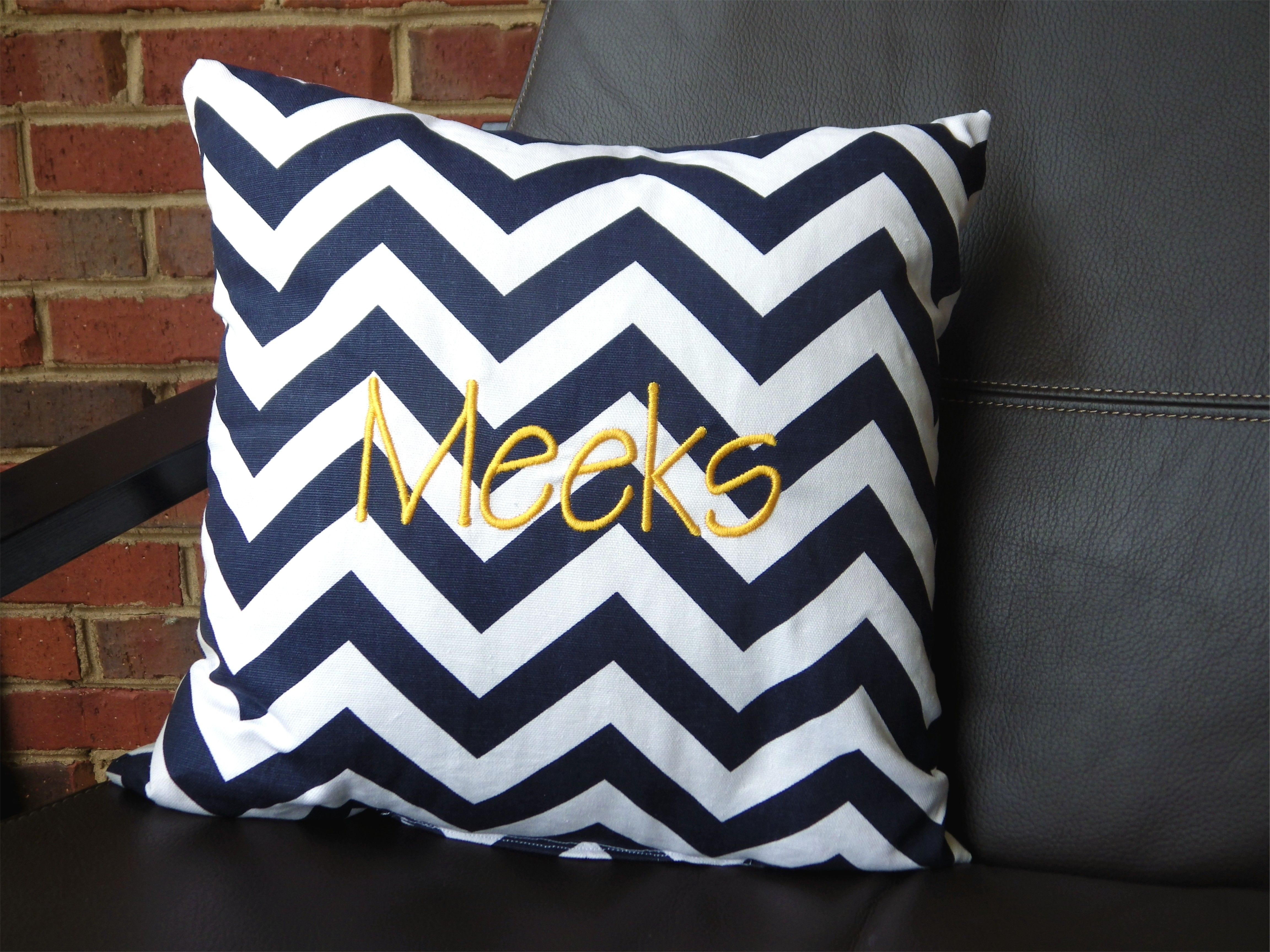 Daydreamin Navy Chevron Monogrammed Pillow