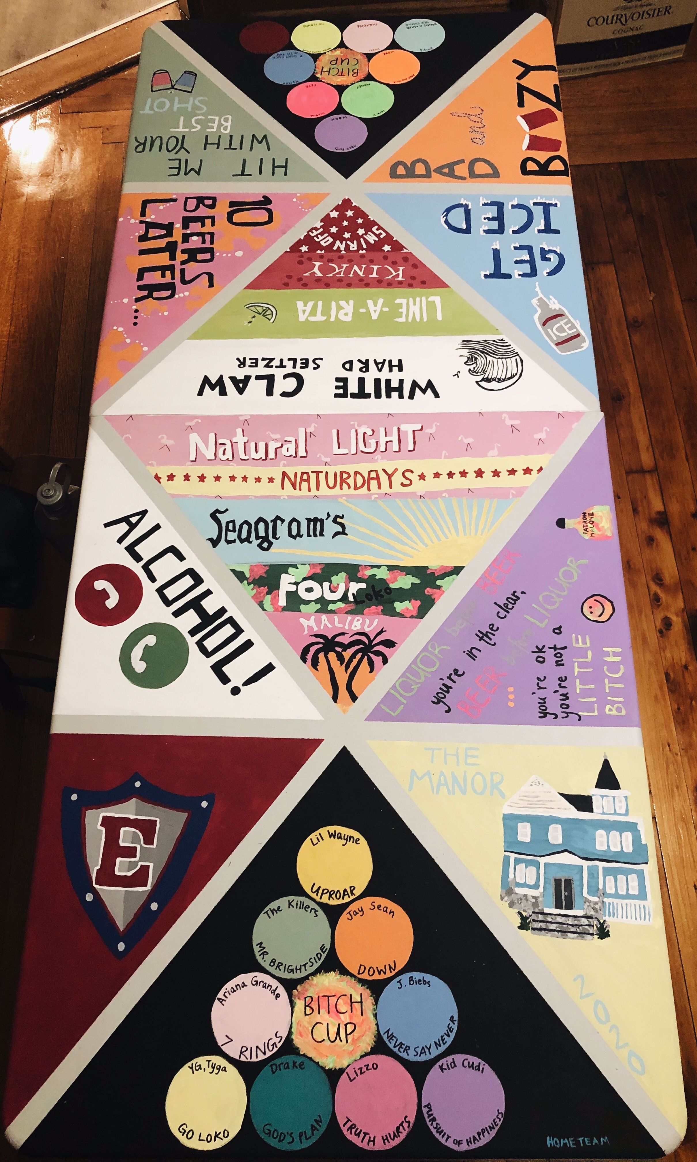 college beer pong table painted alcohol four loko malibu