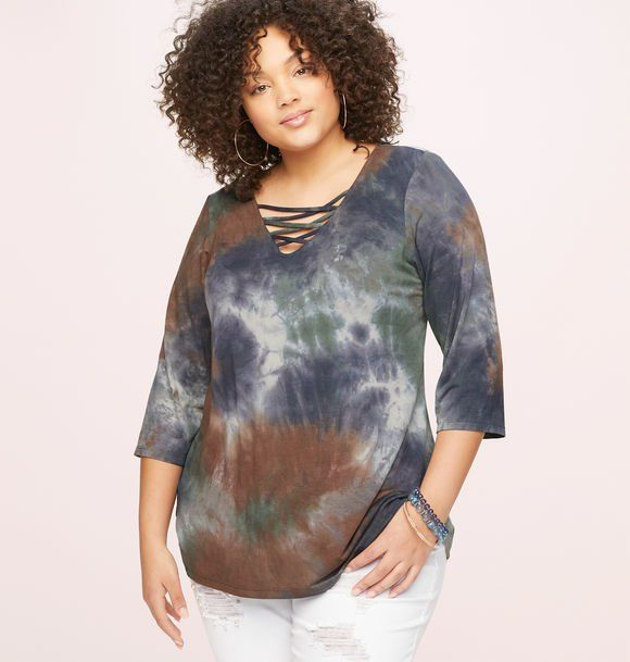 d90583272c2eb8 Multi-Tie Dye Caged Top Plus size fashion clothing including tops, pants,  dresses
