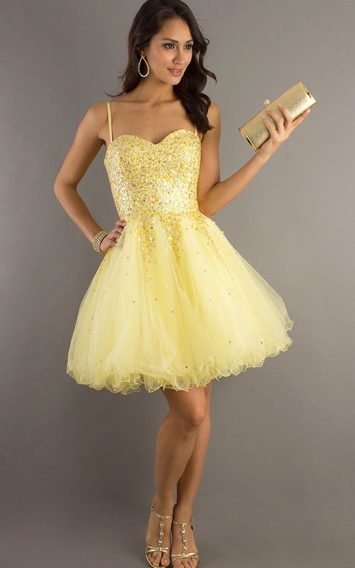 Sparkly Yellow Short Sequin A Line Homecoming Dress [Short Sequin ...