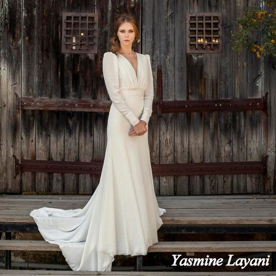 Traditional Wedding Gowns With Long Sleeves: Traditional Wedding Dress With Long Sleeve, Boho, Open