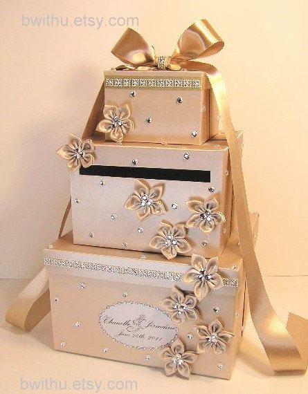 Wedding Card Box Champagne Gift Card Box Money Box Holder