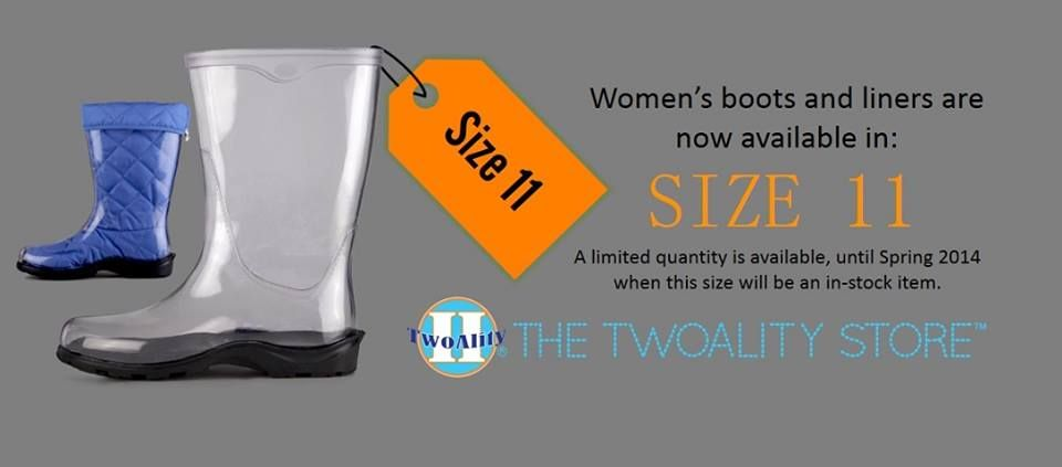 It's the day that some of you have been waiting for...SIZE 11's ARE NOW AVAILABLE!! www.thetwoalitystore.com!! Limited quantities available! #ClearBoots #InterchangeableLiners #MadeintheUSA #Gifts #SnowBoots #RainBoots #MuckBoots