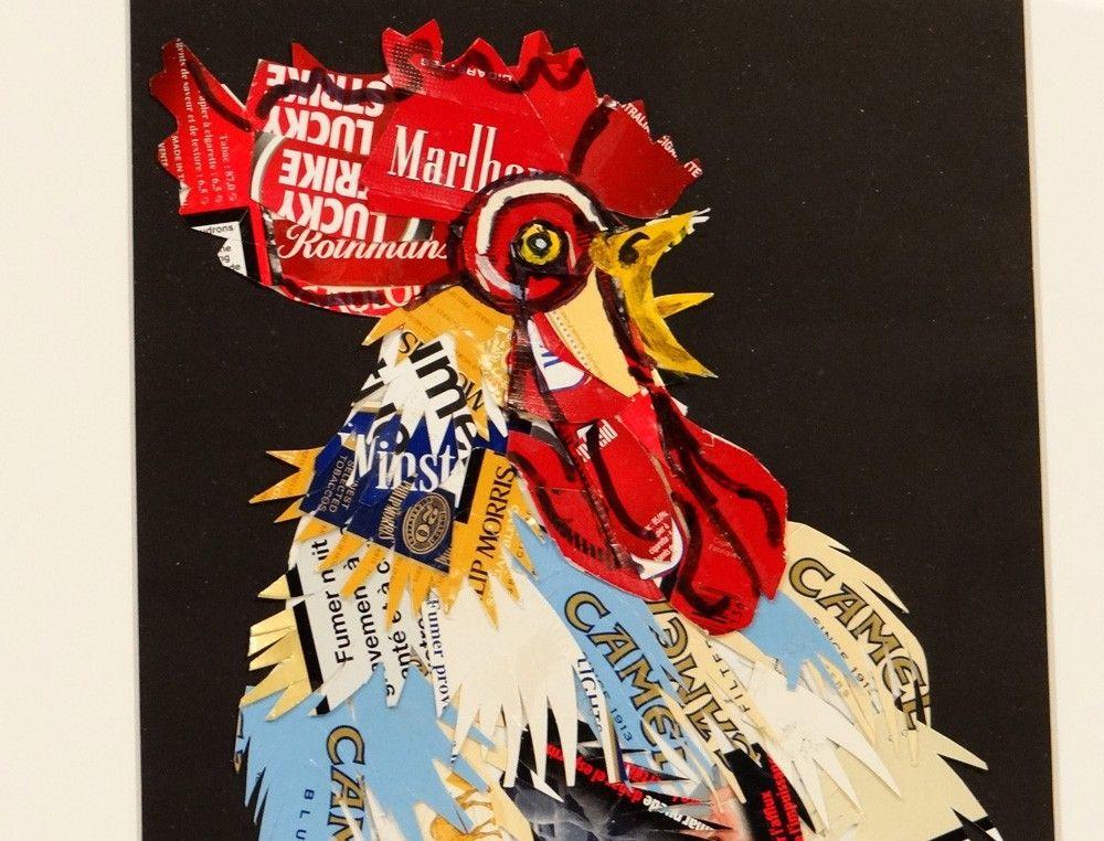 tableau contemporain g li collage d coupage coq chantant coq oiseau pinterest tableaux. Black Bedroom Furniture Sets. Home Design Ideas