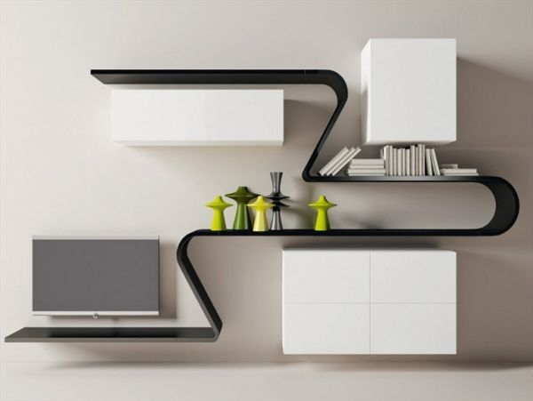Wandregal designklassiker  Wandregal Design-minimalistisch Wave-Novamobili Glanzlack | For ...
