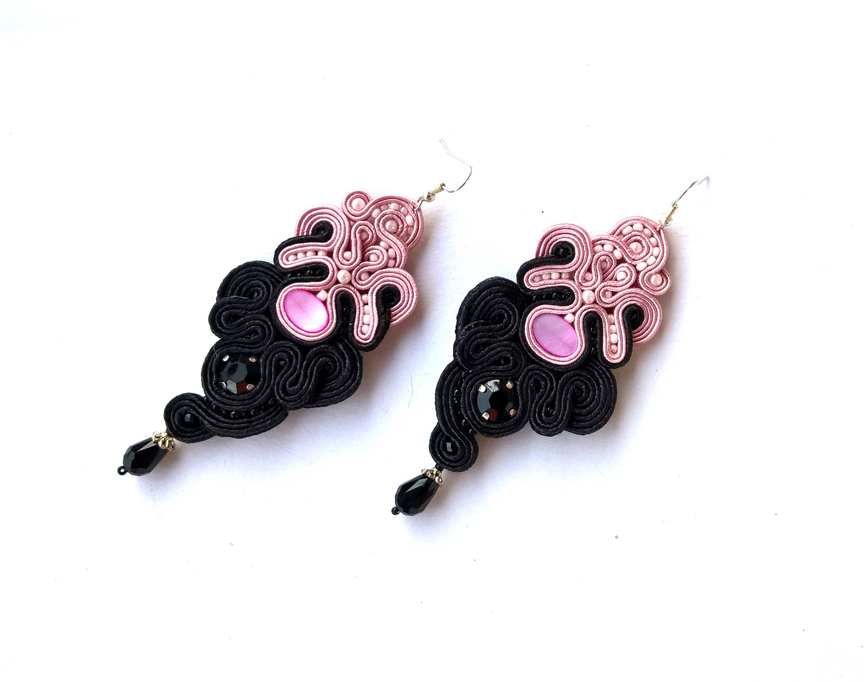 Black Dangle Earrings Elegant Drop Long Pink Wedding