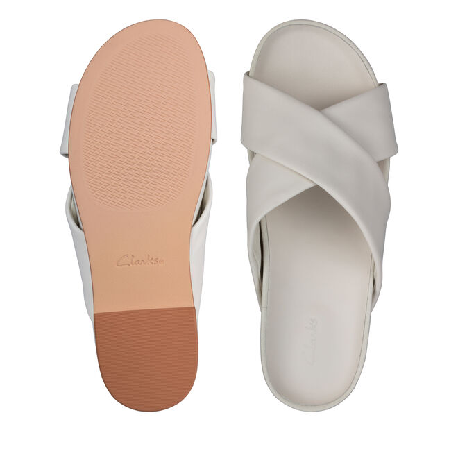 Women's White Leather Sandals - Pure