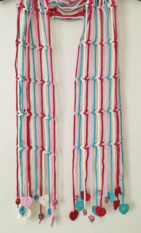 Lighthearted beaded crochet summer scarf | Stricken decken, Schals ...