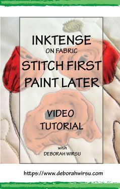 Inktense for quilters - quilt then paint! Video tutorial