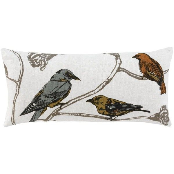 """Dwell Studio Chinoiserie Long Decorative Pillow, 12"""" x 24"""" ($80) ❤ liked on Polyvore featuring home, home decor, throw pillows, pearl, bird throw pillow, bird home decor and dwellstudio"""