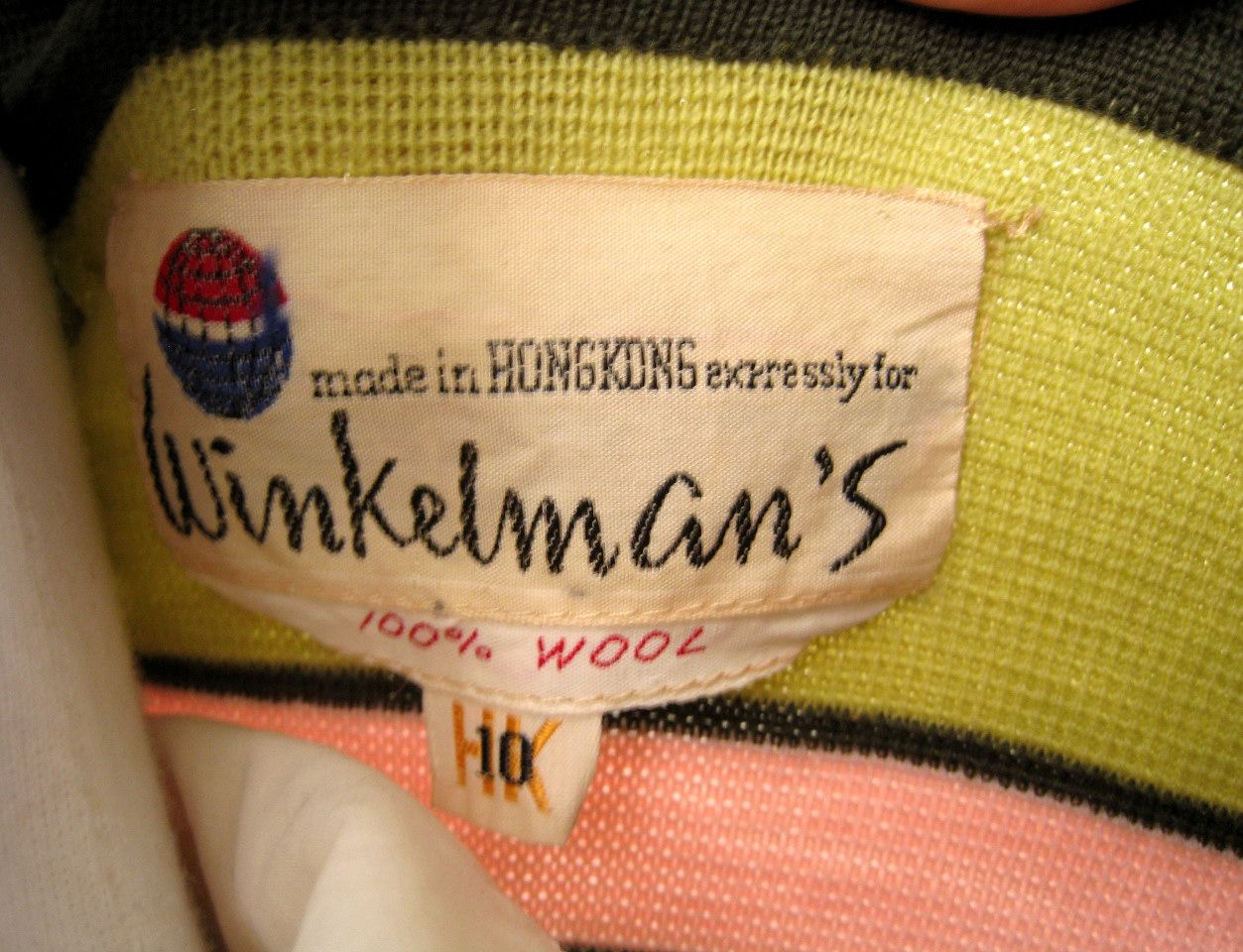 Winkelman's vintage clothing label from 60's knit cardigan