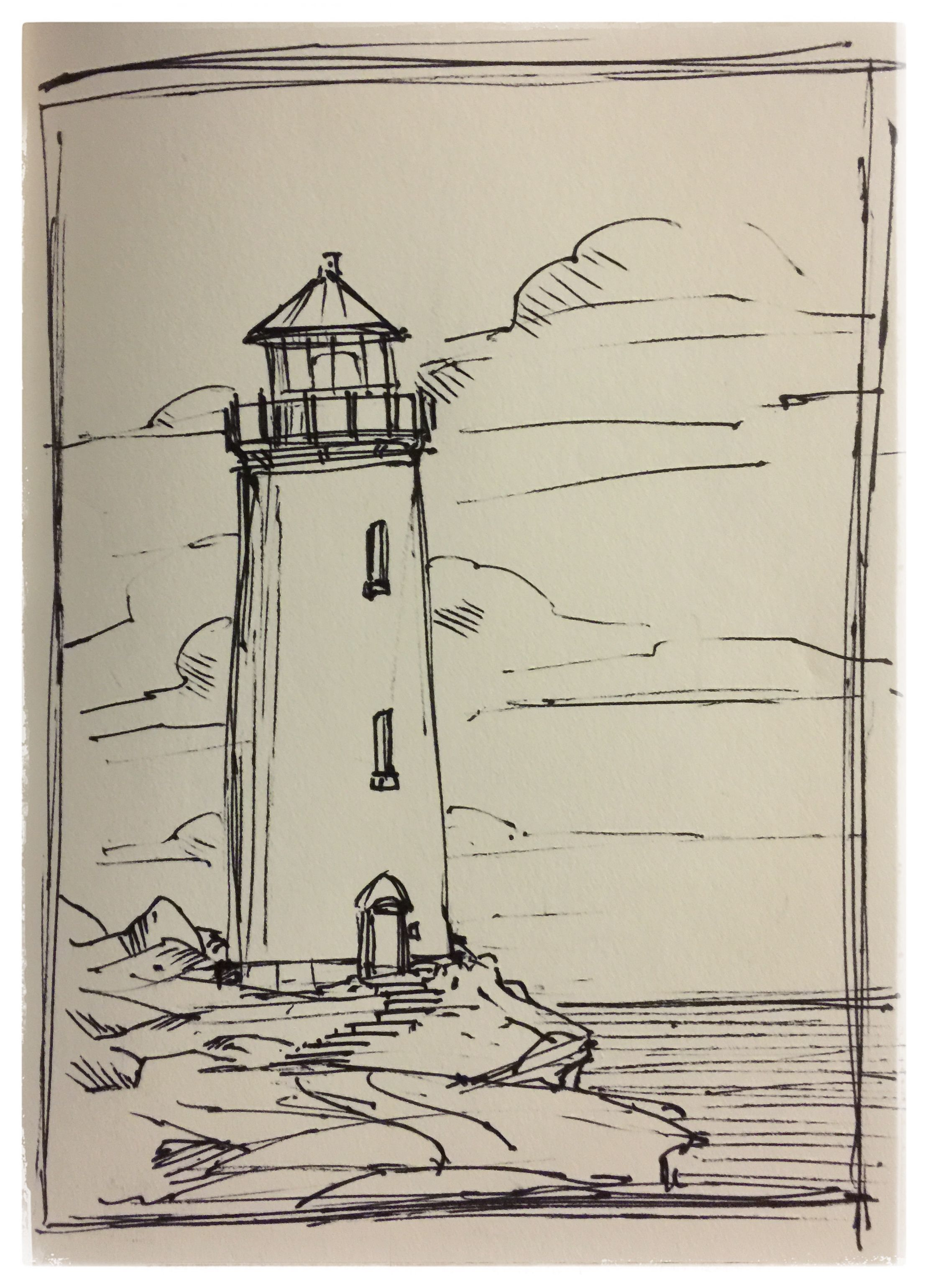 29 Lighthouse Ink Scene Scenery Sketch Layout Doodle Drawing