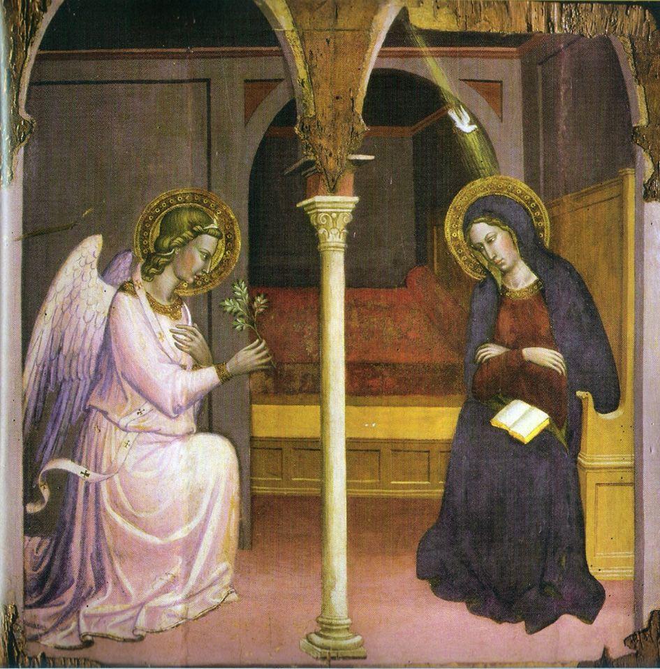 Paintings - Martino di Bartolomeo, L'Annonciation, around 1408, Siena, Pinacoteca Nazionale (945×957)